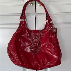 Red hobo boho satchel purse tassel